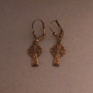 Gold Celtic Cross Earrings